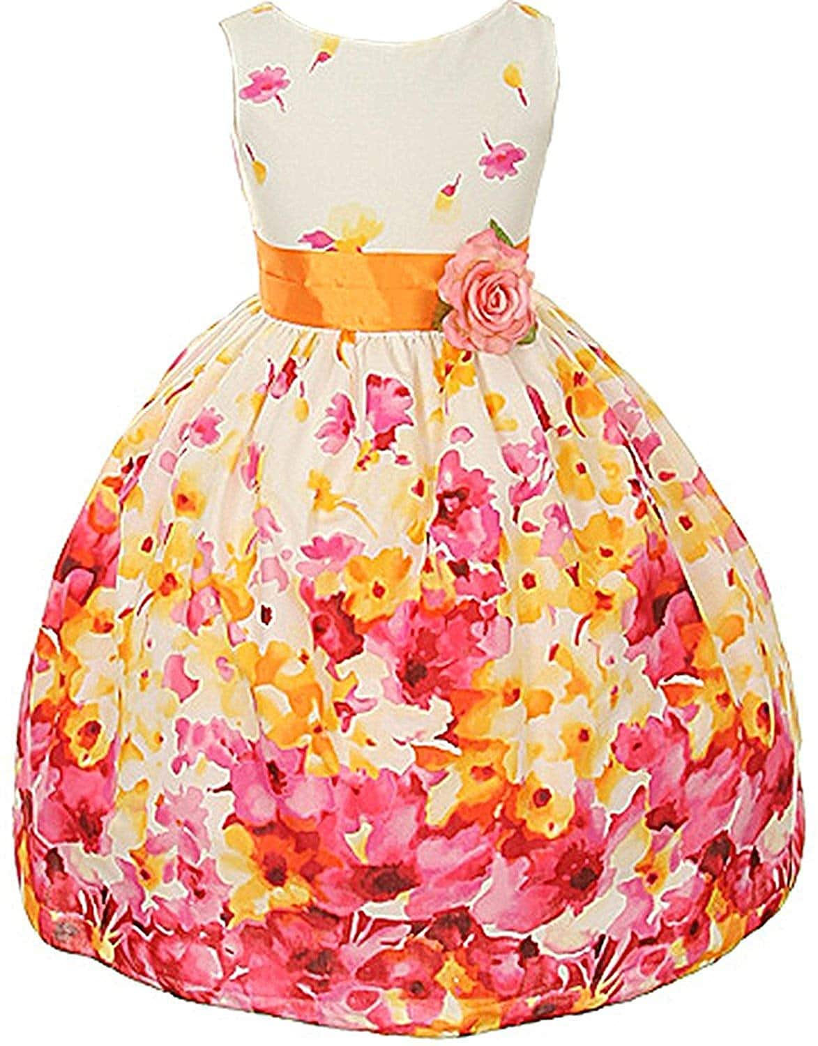 Kid's Dream Fuchsia Flower Print Sash Easter Dress Little Girls 2T-12