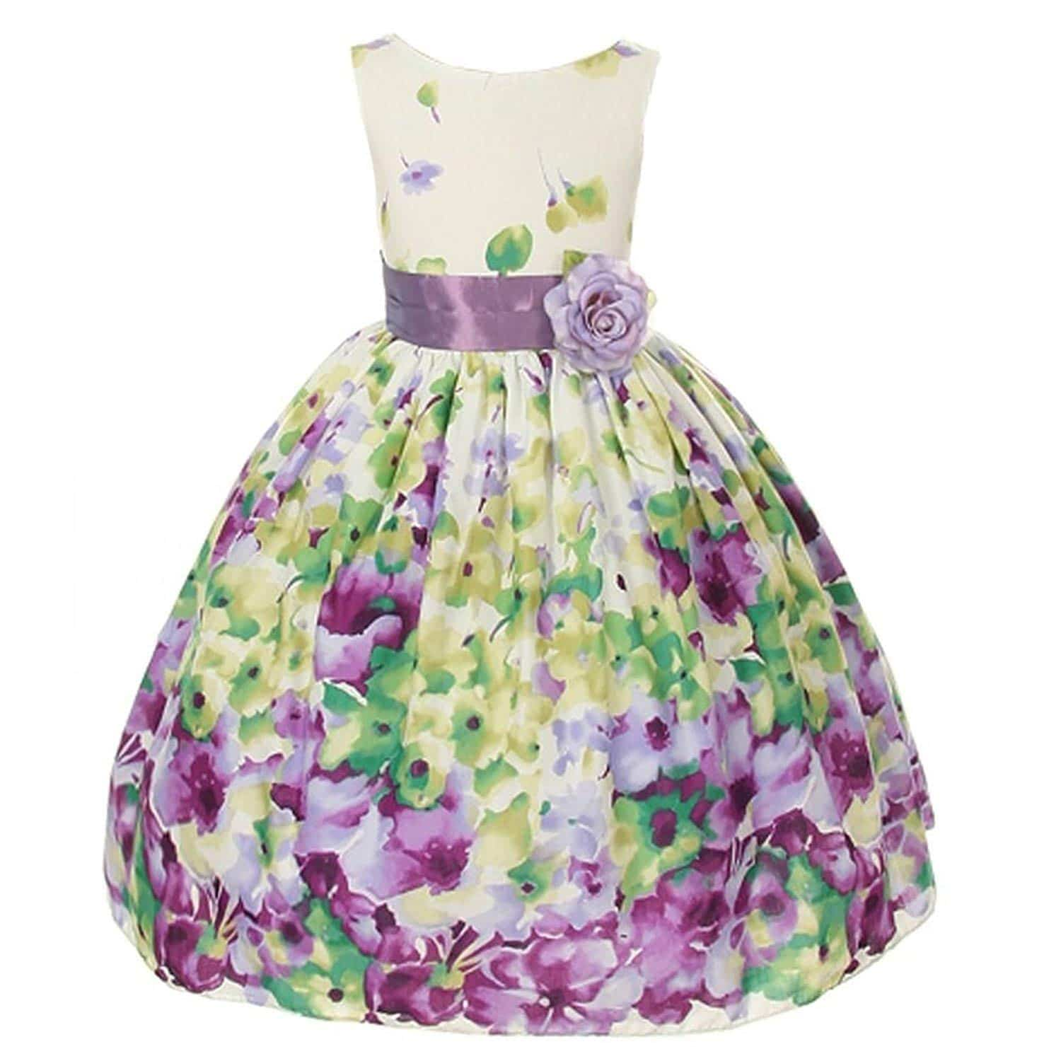 Kid's Dream Lavender Flower Print Sash Easter Dress Little Girls 2T-12